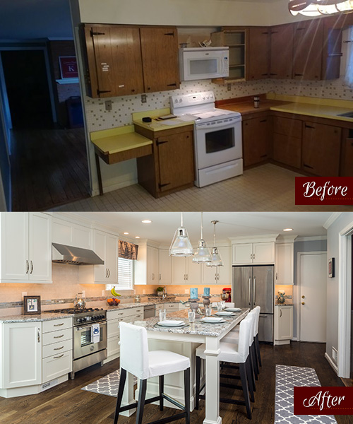 Before & After photo of Kenwood Kitchens Remodel